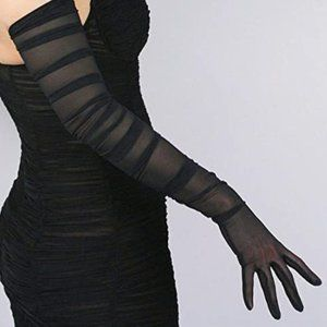 Sheer Black Gloves Opera Style OS